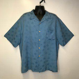 Nat Nast Silk Blue Button Up Short Sleeve Shirt